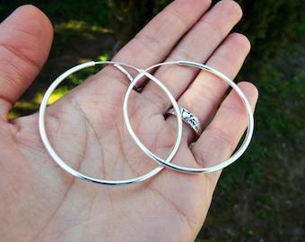 Hoop Earrings Sterling Silver 925 Bali Balinese Tribal Handmade Jewelry Traditional
