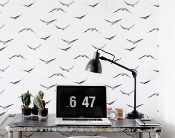 Watercolour Wallpaper, Removable Wallpaper, Self-adhesive Wallpaper, Birds Wall Décor, Wallpaper murah, Wallcovering - JW084