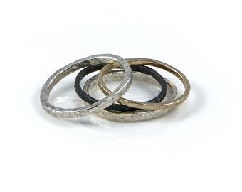 Mixed metal stacking ring set, Stacking rings, mixed metal rings, silver rings, oxidised rings, gold rings, handmade rings, statement rings.