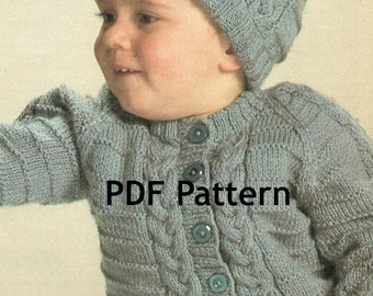 Cabled Toddler Knit Sweater, with Hat Pattern, Cable Knit Pattern, 18 mo 2yr 3 yr, 3 sizes, Vintage 1960's, PDF Instant, Digital Download