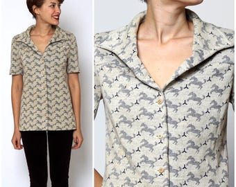 Vintage 1970s Button-Up Novelty Print Horse Knit Blouse by Mirsa | Small/Medium
