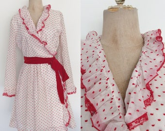 1970's Red Swiss Dot Ruffle Wrap Dress Size Medium by Maeberry Vintage