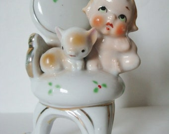 Vintage Japan Porcelain Baby Girl Seated in Chair with Cat