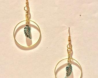Gold Hoop Turquoise Leaf Earrings