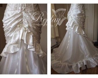 MADE TO ORDER Handmade Ivory Wedding Skirt Bustle Fishtail Victorian Steampunk Frills Overskirt Dress Bridal Drapery Bridal full length