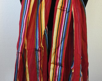 Vintage LONG Sheer Silk and Cotton Wrap Scarf Shawl Vivid and Colorful Stripe Deep Rainbow Hues Striking Statement Red Turquoise Yellow