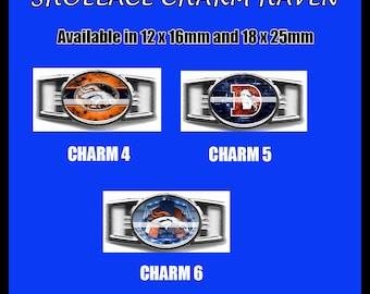 DENVER BRONCOS Shoelace Charm  Paracord Bracelet Charm Oval Charm 12 x 16mm or 18 x 25mm Charms
