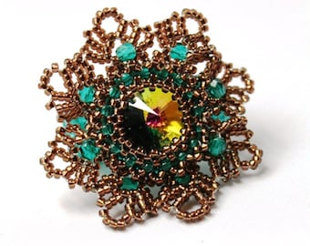 "Ring ""Desy"" Swarovski rivoli 14mm Nostalgia Spring Lace statement ring"