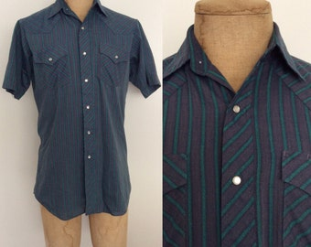 1970's Blue & Green Striped Pearl Snap Button Up