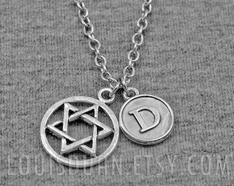 Silver Hexagram Necklace -Star of David Necklace -Initial Charm Necklace -Your Choice of A to Z