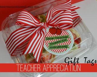 3 Teacher Appreciation Gift Tags / 3 Different Designs / Dear Teacher, Thanks for Everything / Teacher Gifts /