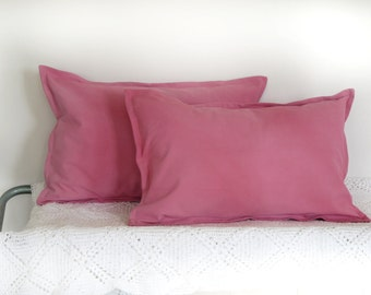 "set of 2 pink lumbar pillow cover in a French vintage metis linen, hand dyed, pink cushion cover 16 ""x 24"""