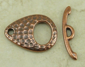 1 TierraCast Hammered Hammertone Elipse Toggle Clasp - Copper Plated LEAD FREE Pewter  6115