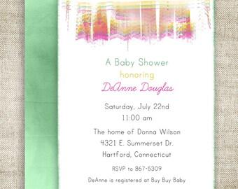 Girl or Boy BABY SHOWER INVITATIONS Banner Digital diy Printable Personalized - 100374057
