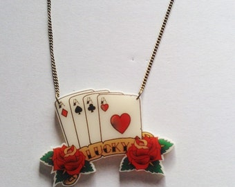 Lucky Aces Playing Cards Vegas Rose Tattoo Necklace