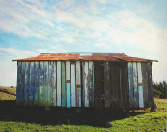 """barn photography / rural country abandoned building architectural art print / grey blue pastel large wall art / """"rustic Cazadero barn"""""""