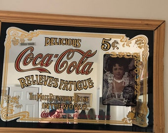 """Large vintage Coca Cola mirror , lithograph in wooden frame from the 1970's.  Classic Pub  Sign!! 39""""x27"""")"""