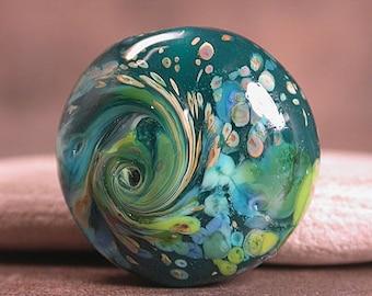 Art Glass Focal Bead, Lampwork Focal Bead, Green and Blue Focal Bead,  Divine Spark Designs, SRA