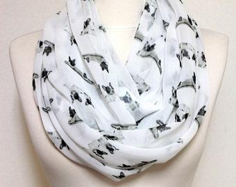 French Bulldog Pattern Infinity scarf, Circle scarf, Loop scarf, Scarves, Shawls, spring - fall - winter - summer fashion