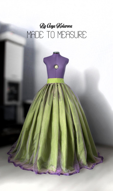 Grüne Kugel Rock lila Hochzeitskleid Braut Maxi-Rock voller