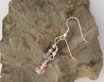 Pale pink earrings with rondelles and small round pink beads