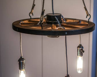 Vintage Industrial wagon wheel light ceiling lamp wood wooden chandelier rustic