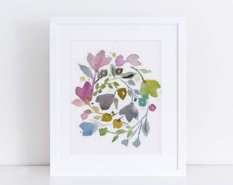 Watercolor Floral, Floral Art Print, Wreath Art, Vines Print, Garden Floral, Abstract Art, Bohemian