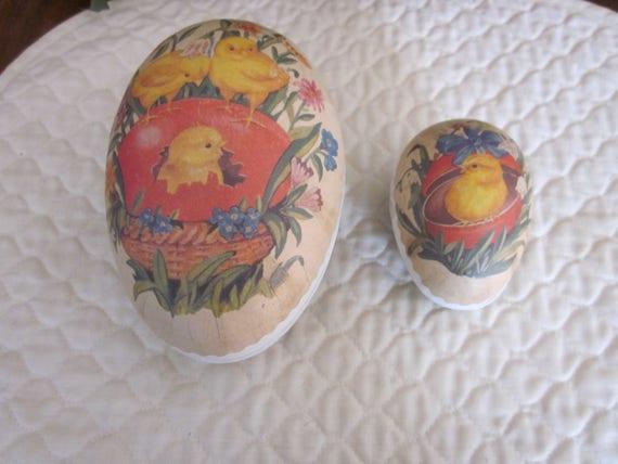 Antique German Paper Mache Nester Easter Eggs, 1940's