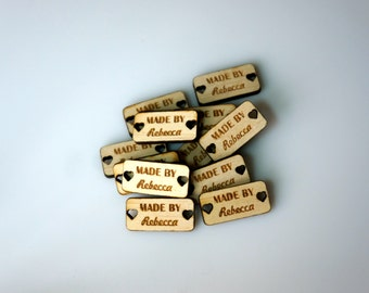 Wooden Tags with Heart Shaped Holes Personalized Tags Custom Wood Tags Engraved Knitting Buttons Craft Buttons Business Tags Laser Cut Logo