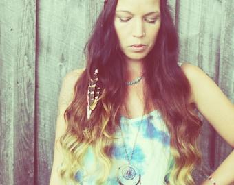 Handmade Braided Hippie Feather Headband, Feather Headband, Synthetic Braided Hair Headband, Hippie Wedding, Brunette Hair, Elastic Headband