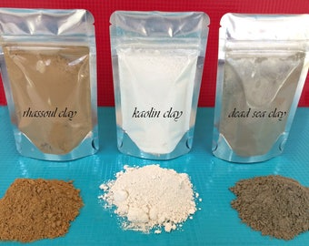 Rhassoul Clay Kaolin Clay Bentonite Clay Your Way 4 ounce pouch clays skin care hair care, Clay mask mix your own, DIY Clay Mask
