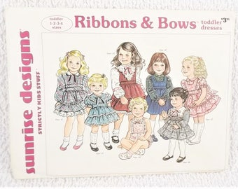 Sunrise Designs Strictly Kid Stuff Ribbons & Bows Toddler Dresses 1 to 4 From 1988
