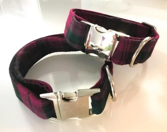 Green and Pink Tartan Dog Collar