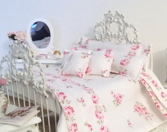 Shabby 1:12 Scale Dollhouse 8 Piece Bedding Set, Shabby Cottage Chic Pink Rose Trellis on White Cotton , Miniature Shabby Dollhouse Bedding