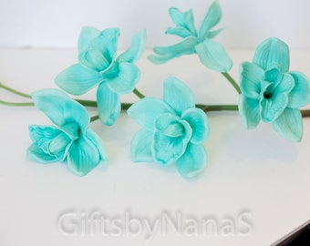 Turquose real touch orchids, real touch flowers, aqua blue cymbidium orchid, bulk silk flowers, teal silk orchids, true touch flowers