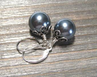 Blue Pearl Earrings,  Sea Shell Pearl, Single Pearl Dangle Earrings,  Sterling Silver, June Birthstone Jewelry