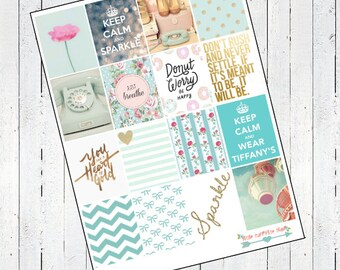 Mint Love Stikers- For Erin Condren