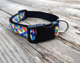 """Geo Triangle Dog Collar, 1"""" wide, available in M, L, XL"""