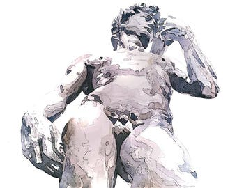 "Homage to Michelangelo ""David""- Original Watercolour (16* Inches)"