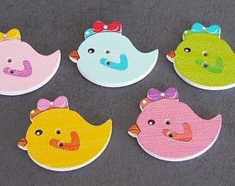 """wooden boutrons fancy wooden birds, baby birds, form of wooden buttons buttons """"bird, fancy 20 x 25 mm"""""""