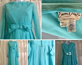Emma Domb vintage chiffon hostess gown formal bridesmaid dress