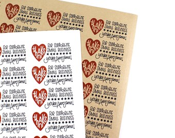 Shop Exclusive - Thanks for Supporting Small Business- You are Awesome - modern lettering stickers with heart and stars
