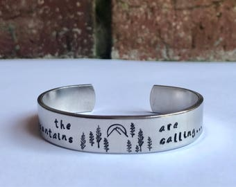 The Mountains Are Calling Handstamped Cuff Bracelet