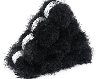 10 x 50g effect yarn lea with fringes, #221 black glitter