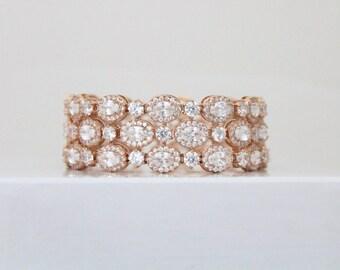 Rose Gold Bracelet, Bridal bracelet, Bridal jewelry, Rose gold cuff bracelet, Statement bracelet, Crystal cuff bracelet, Rose Gold jewelry