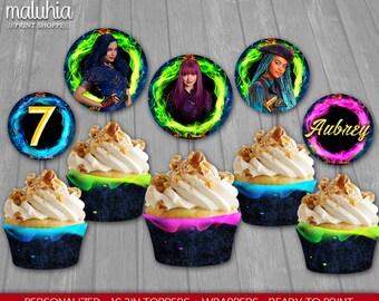 Descendants 2 Cupcake Toppers - Disney Descendants 2 Custom Cupcake Toppers Birthday Party - Descendants 2 Party Decoration - Mal Evie Uma