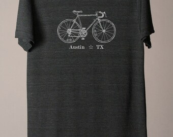 Austin cycling tee, gift for cyclists, bike Austin, customized tshirt