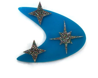 Blue Boomerang and Retro Stars Brooch, Vintage Acrylic Pin, Pin up, Rockabilly, Atomic 50s Style, Laser Cut