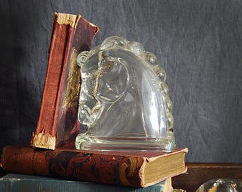Horse Head Bookend Glass Horse Head Book End Vintage Horse Figurine Paperweight