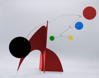 Red Moderne Stabile - Tabletop Art Sculpture - Home Decor - Room Decoration - Retro Midcentury Atomic Style - Great Gift - Kinetic Stables